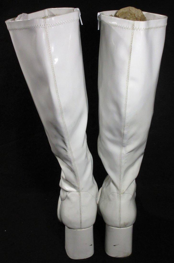"White Plastic Reproduction ""GO GO"" Boots - 4"