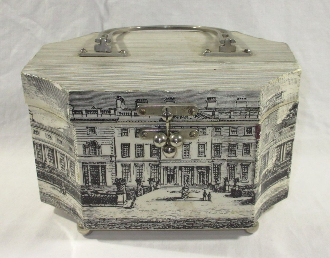1960's Decoupage Wooden Box Purse