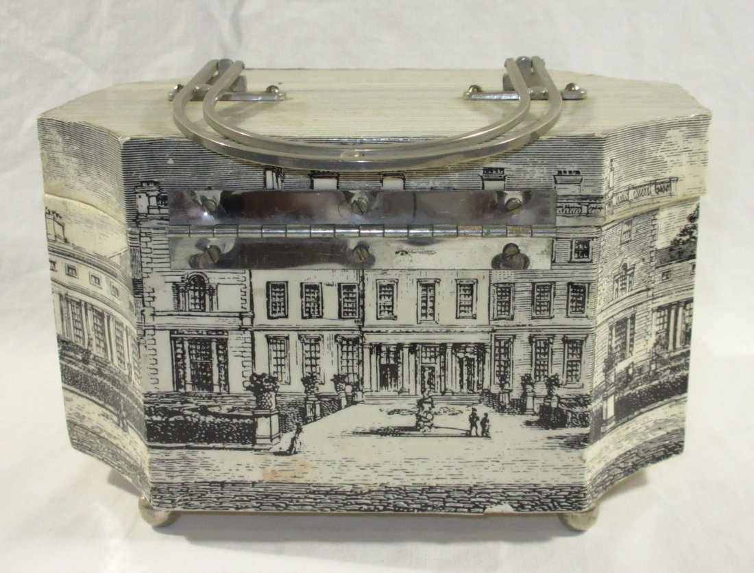 1960's Decoupage Wooden Box Purse - 5