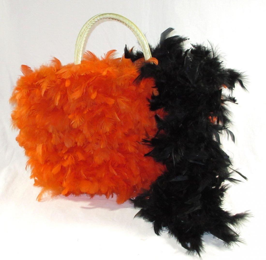 Orange Feather Retro Handbag