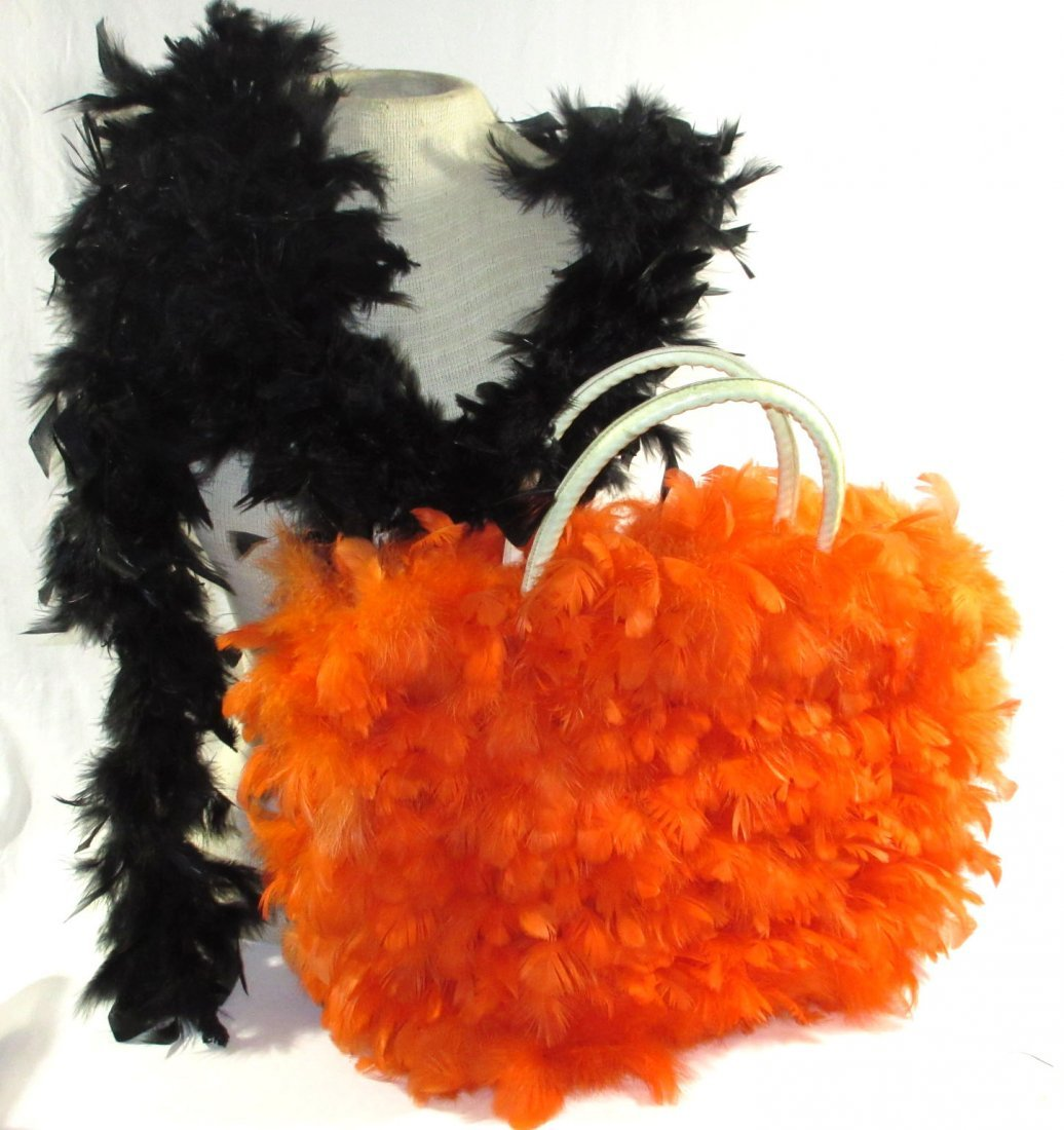 Orange Feather Retro Handbag - 2