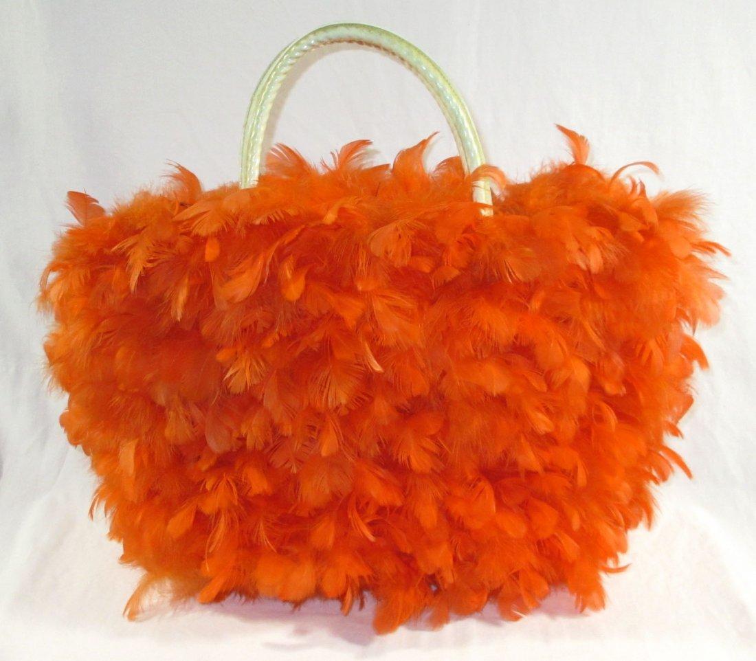Orange Feather Retro Handbag - 3