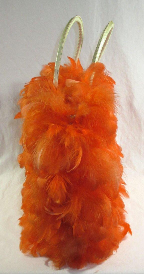 Orange Feather Retro Handbag - 4