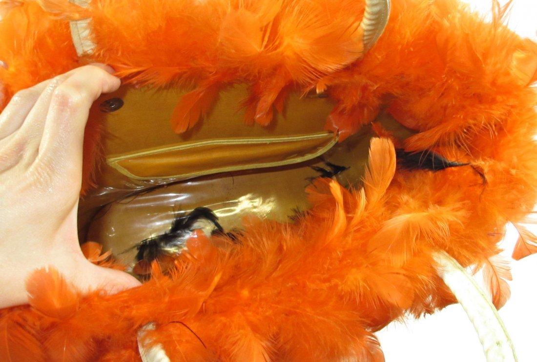 Orange Feather Retro Handbag - 6