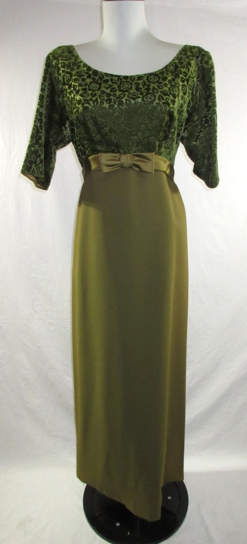 1960's Classic Brocade Velvet Evening Gown