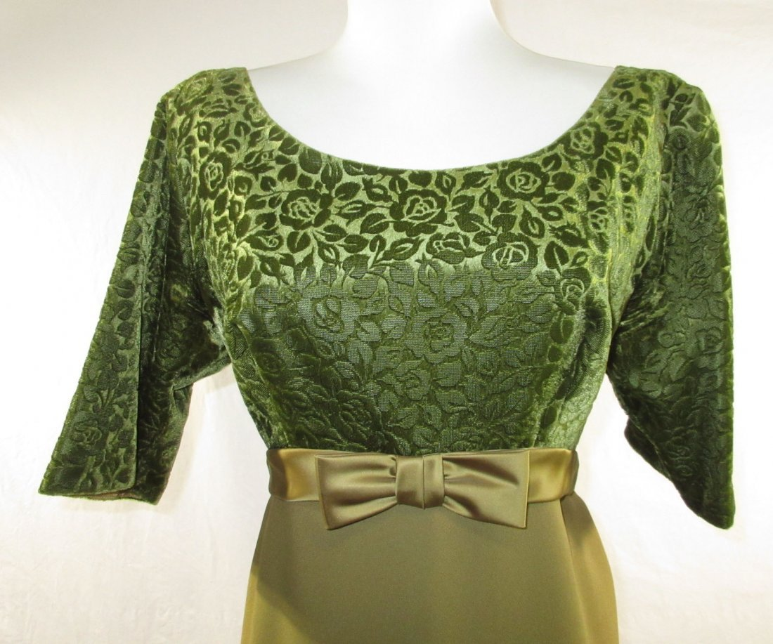 1960's Classic Brocade Velvet Evening Gown - 2