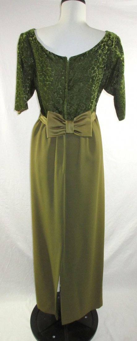 1960's Classic Brocade Velvet Evening Gown - 4