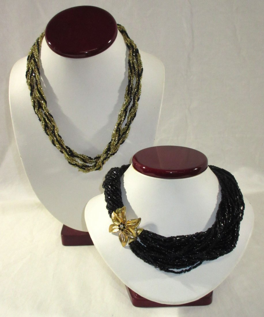 2 Gold/Black Glass Bead Multi-Strand Chokers