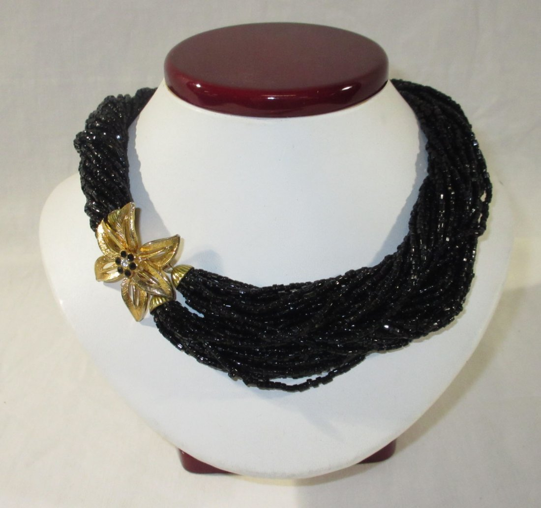 2 Gold/Black Glass Bead Multi-Strand Chokers - 2