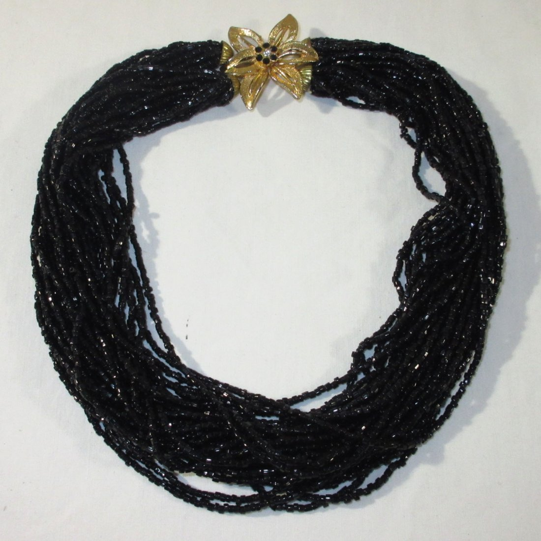 2 Gold/Black Glass Bead Multi-Strand Chokers - 3