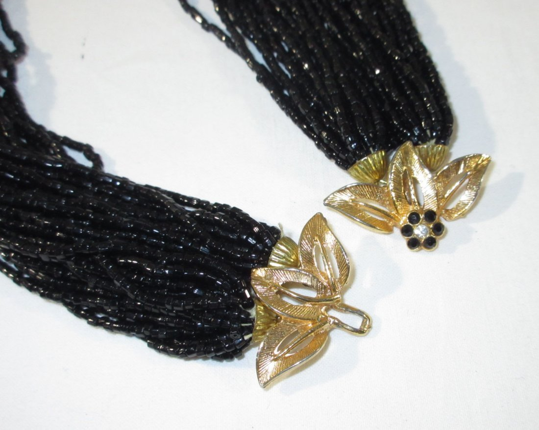 2 Gold/Black Glass Bead Multi-Strand Chokers - 4