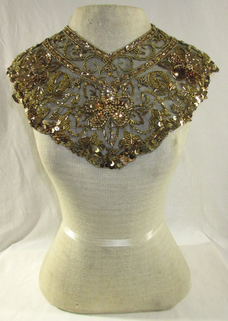 Snazzy Gold Sequined on Black Lace Collar
