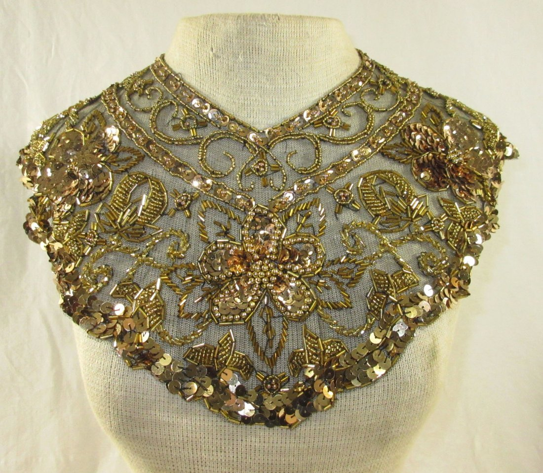 Snazzy Gold Sequined on Black Lace Collar - 2