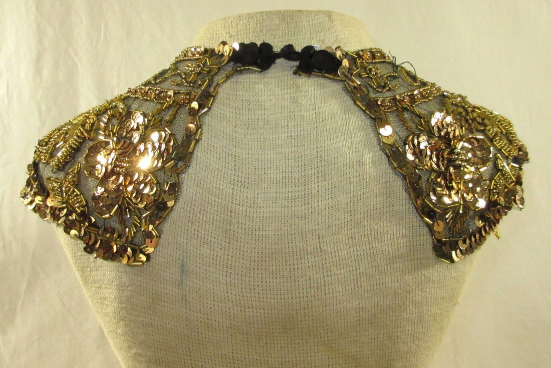 Snazzy Gold Sequined on Black Lace Collar - 3