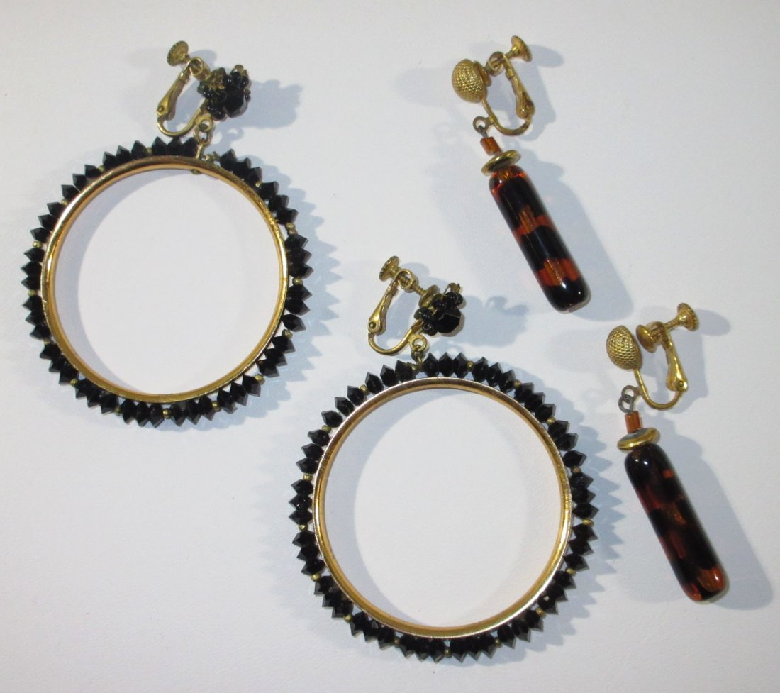 1960's Miriam Haskell Hoop & Drop Earrings