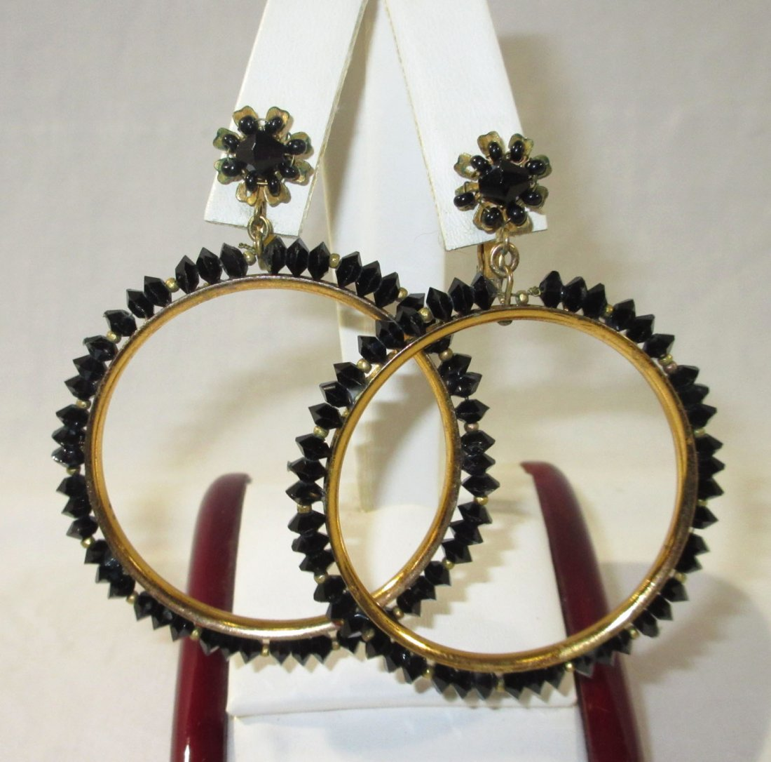 1960's Miriam Haskell Hoop & Drop Earrings - 4