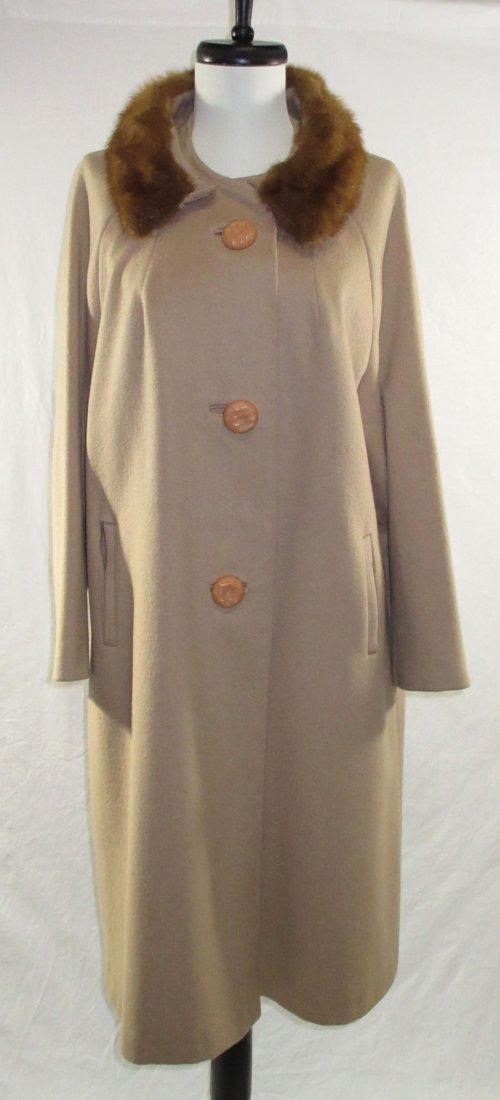Ladies Tan Wool & Mink Collar Dress Coat