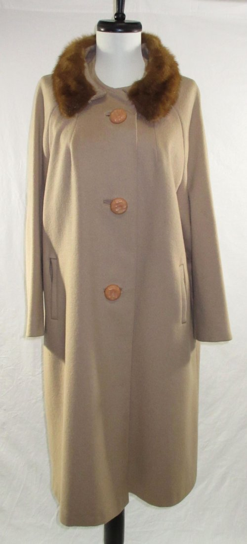 Ladies Tan Wool & Mink Collar Dress Coat