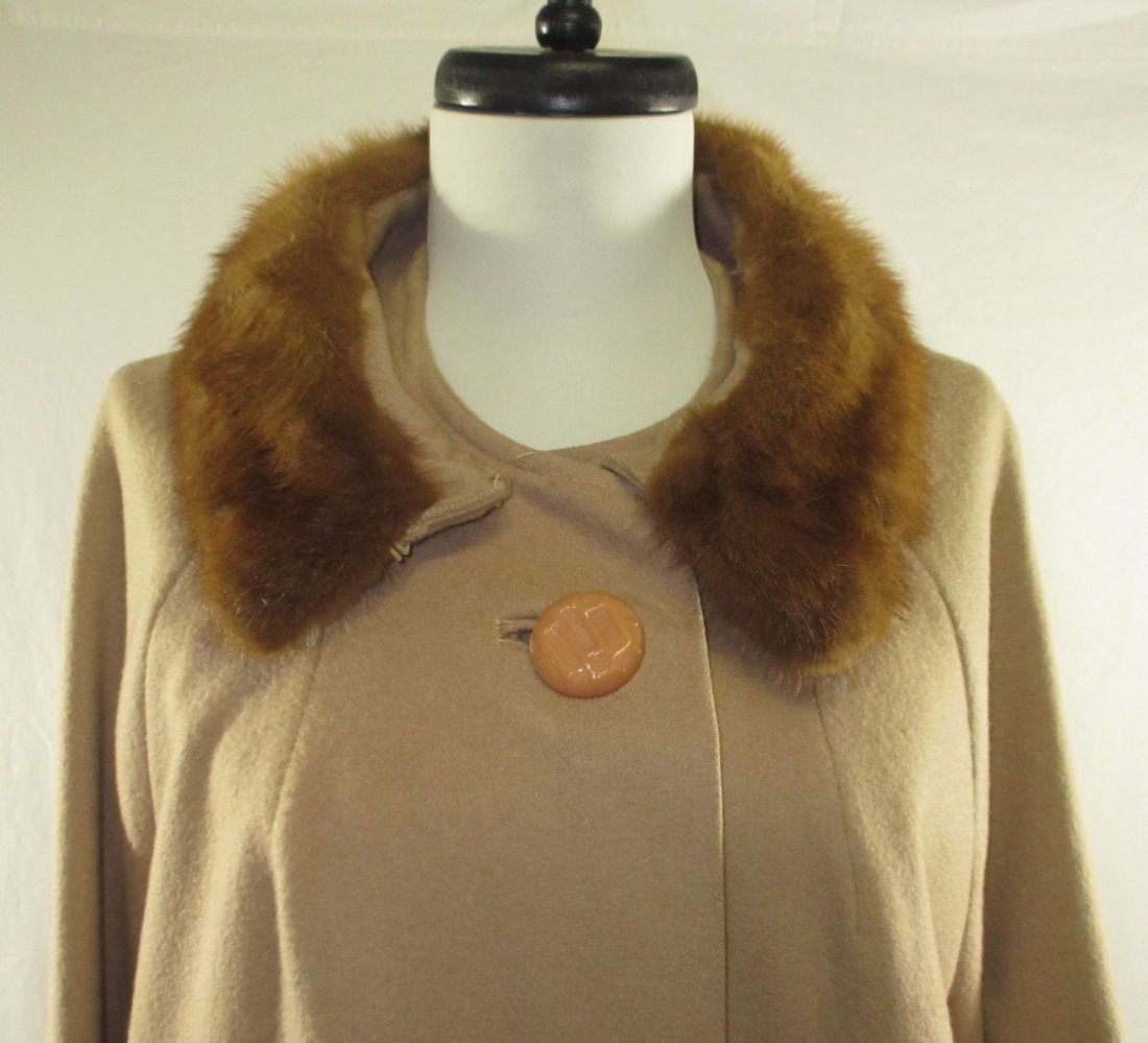 Ladies Tan Wool & Mink Collar Dress Coat - 2