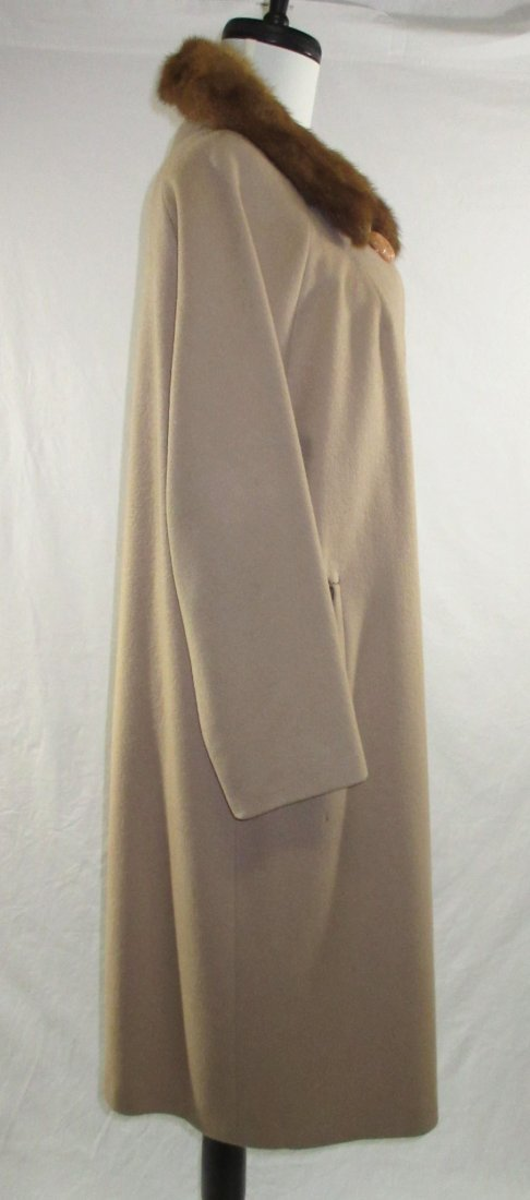 Ladies Tan Wool & Mink Collar Dress Coat - 4