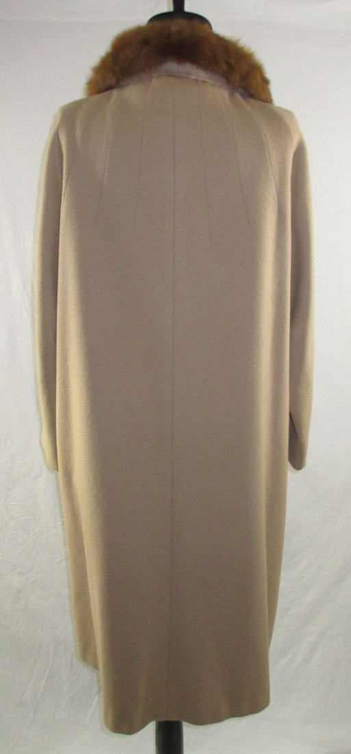 Ladies Tan Wool & Mink Collar Dress Coat - 5