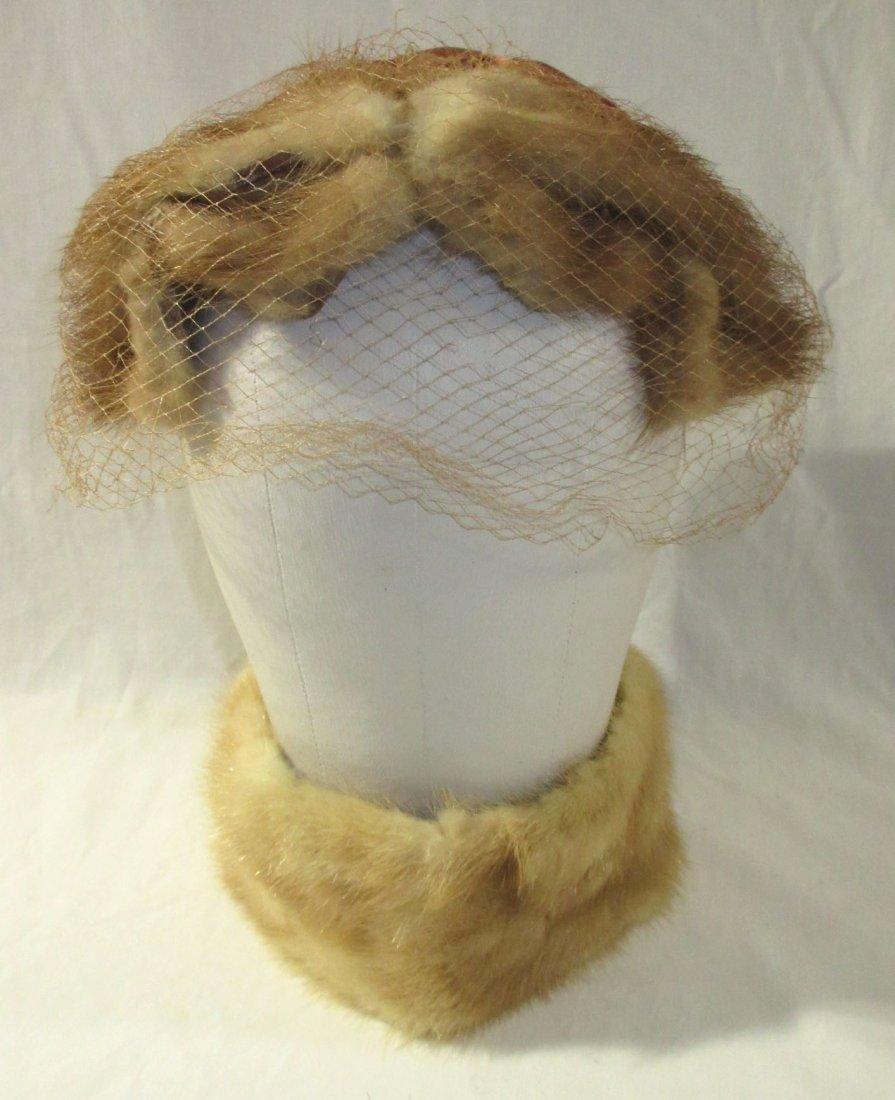 Genuine Mink Half-Crown Cocktail Hat & Collar