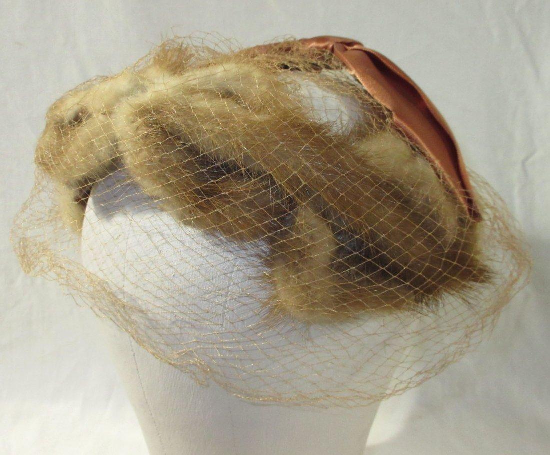 Genuine Mink Half-Crown Cocktail Hat & Collar - 2