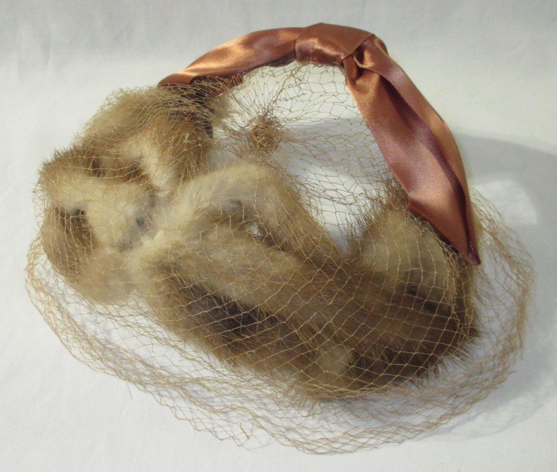 Genuine Mink Half-Crown Cocktail Hat & Collar - 3