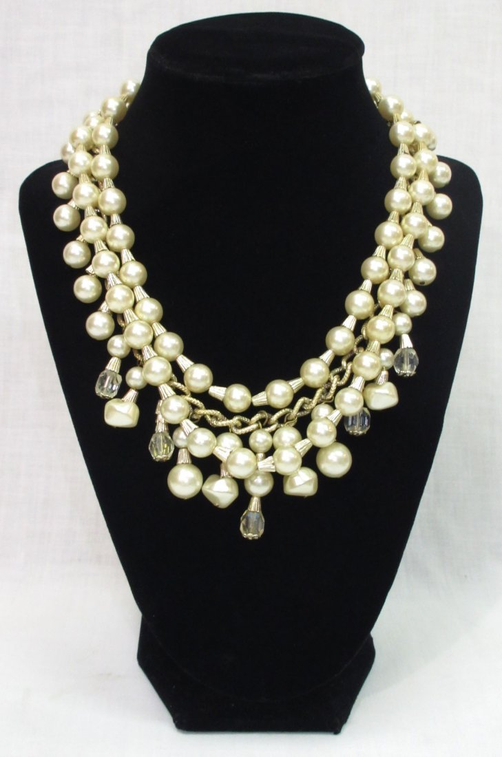 Egyptian Revival Faux Pearl/Crystal Bead Necklace