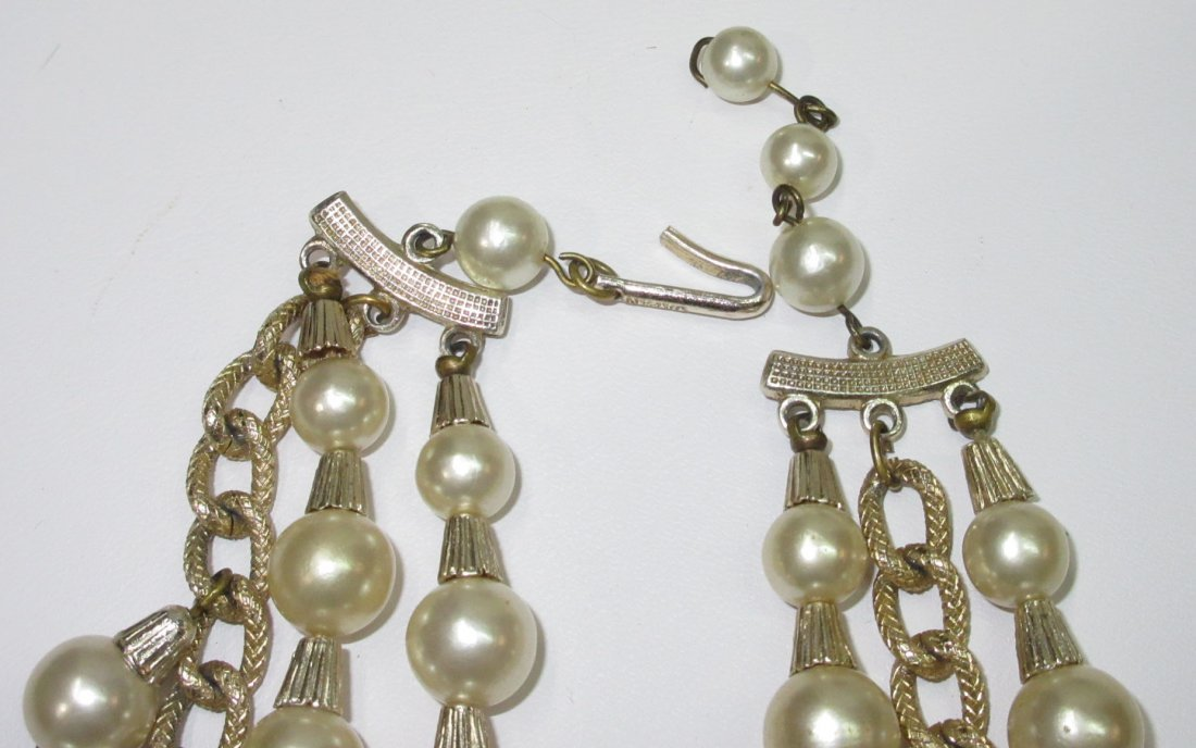 Egyptian Revival Faux Pearl/Crystal Bead Necklace - 3