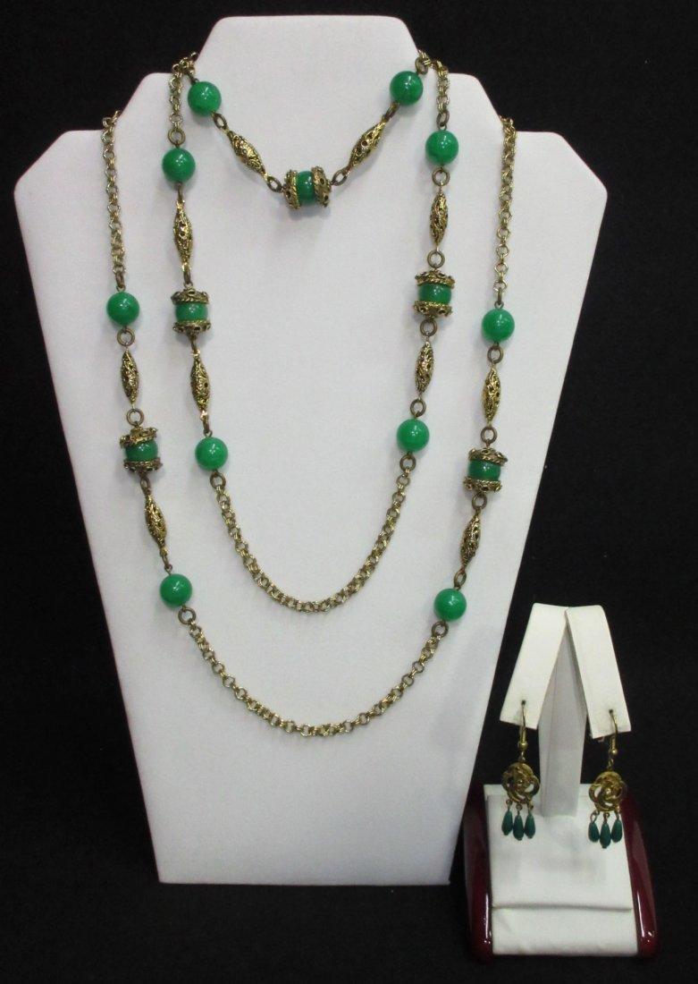 Faux Jade Brass Filigree Necklace & Earrings