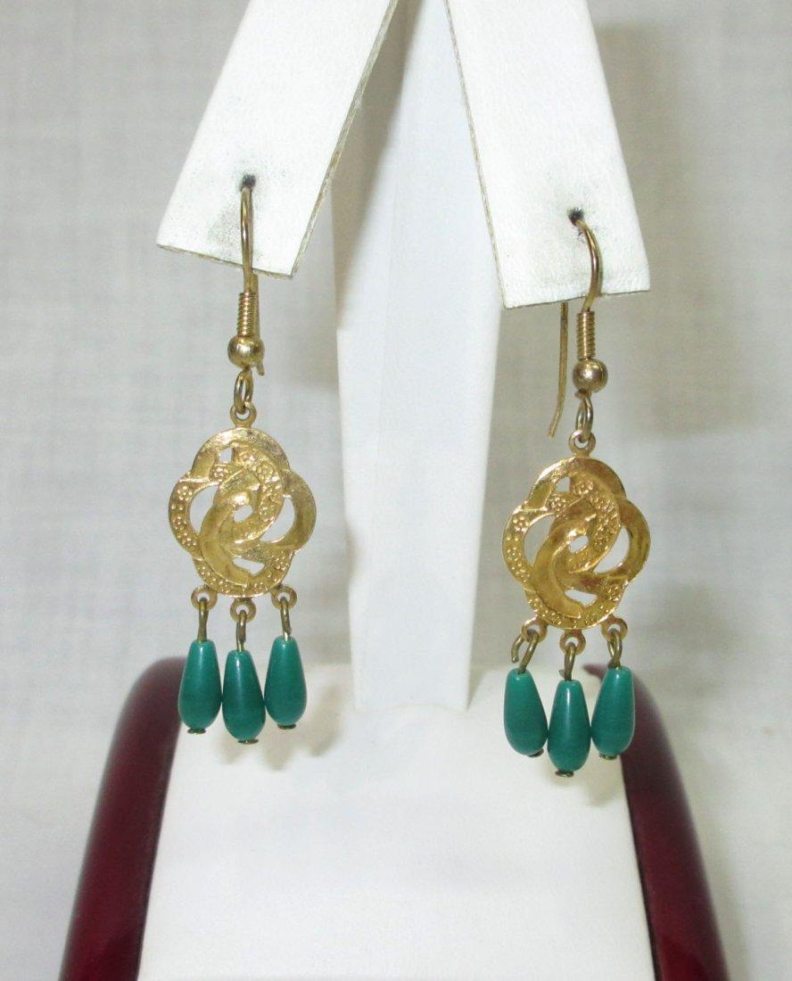 Faux Jade Brass Filigree Necklace & Earrings - 2