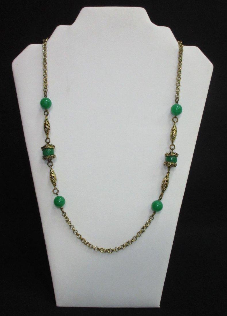 Faux Jade Brass Filigree Necklace & Earrings - 3