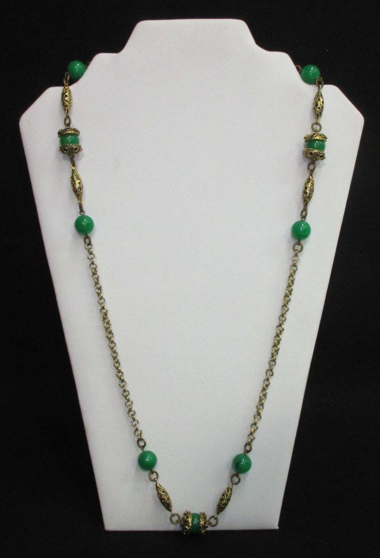 Faux Jade Brass Filigree Necklace & Earrings - 4