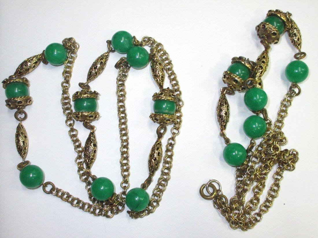 Faux Jade Brass Filigree Necklace & Earrings - 5
