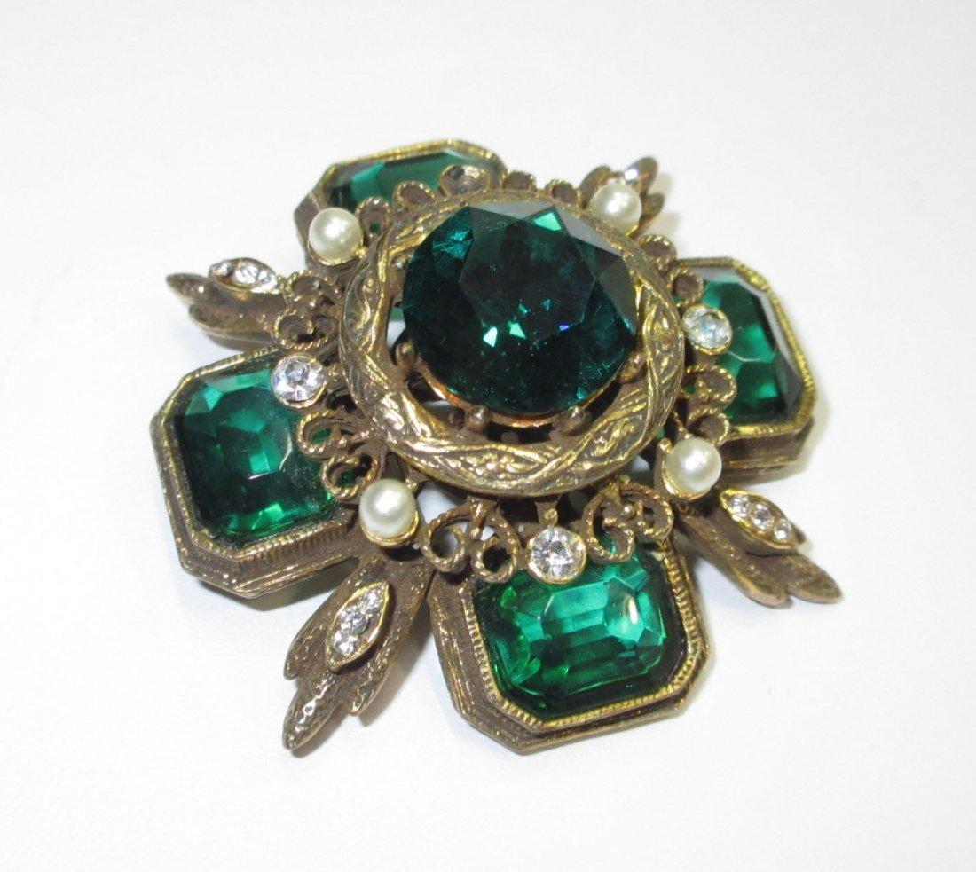 Capri Emerald Glass Maltese Cross Pin/Pendant