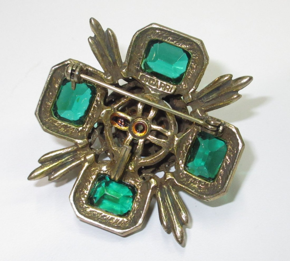 Capri Emerald Glass Maltese Cross Pin/Pendant - 4