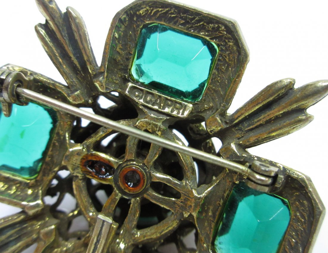 Capri Emerald Glass Maltese Cross Pin/Pendant - 5