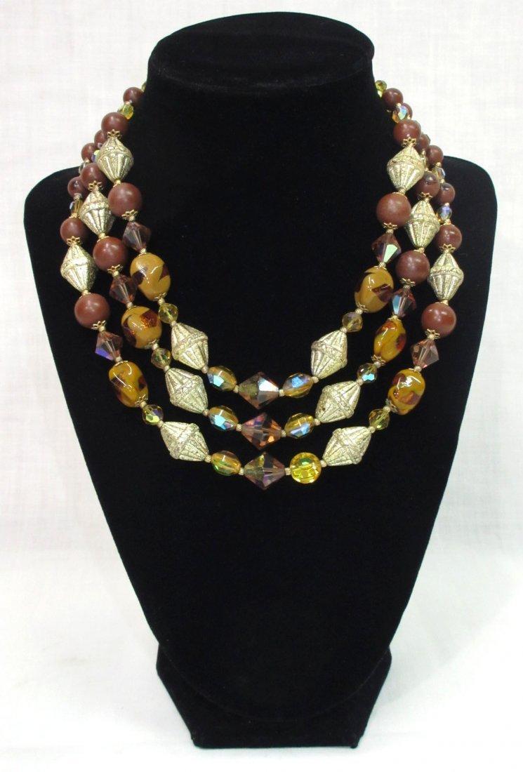Unusual Brown Art Bead Necklace