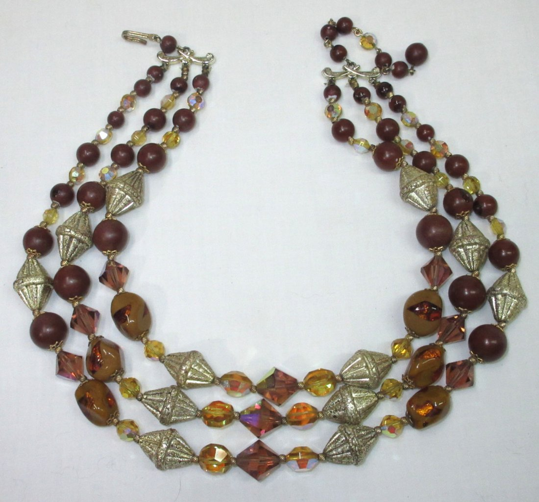 Unusual Brown Art Bead Necklace - 2