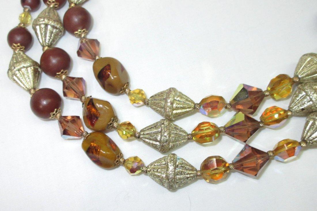 Unusual Brown Art Bead Necklace - 3