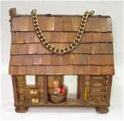 Folk Art Lou Smith Cabin Box Purse