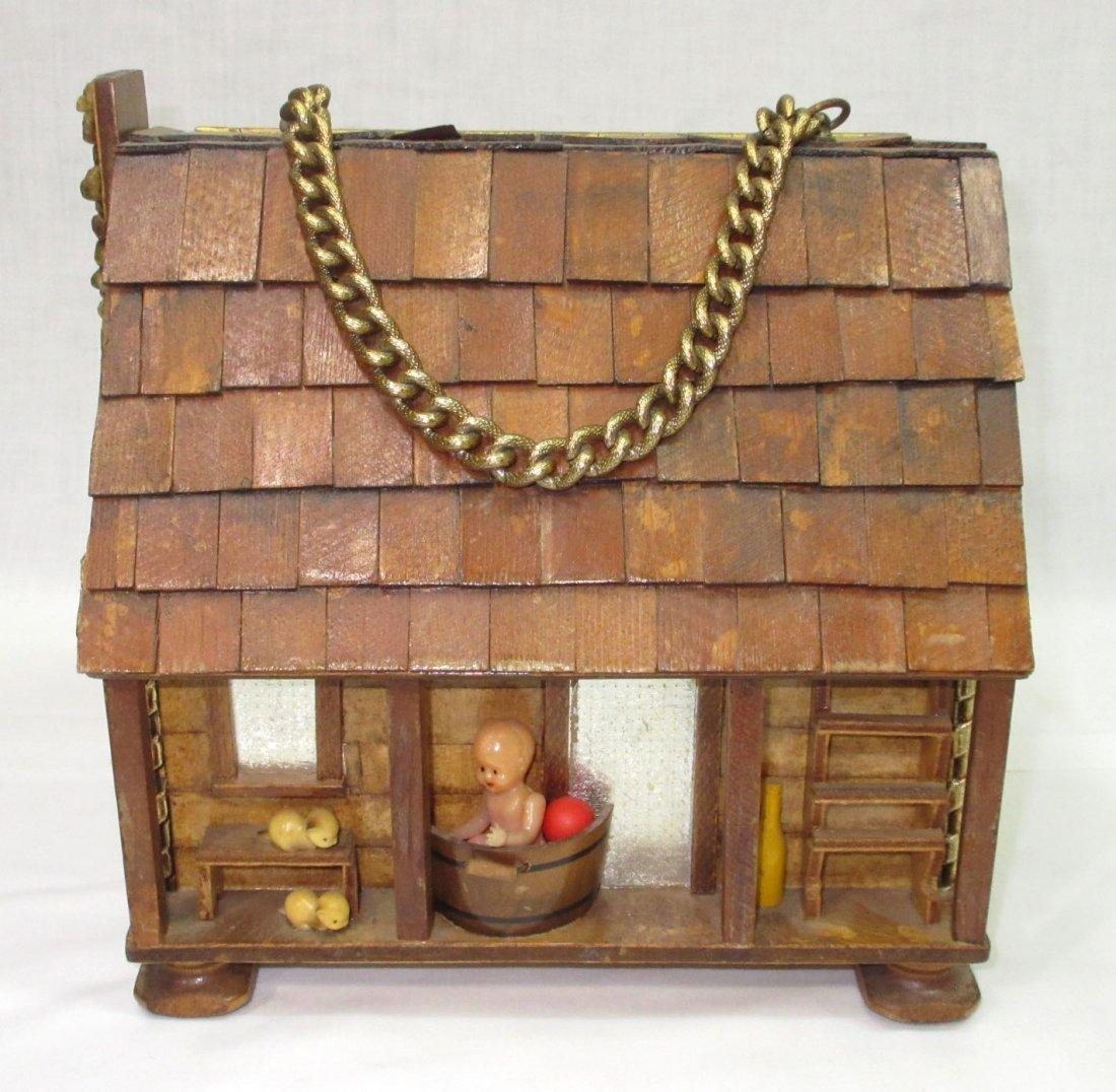 Folk Art Lou Smith Cabin, Box Purse