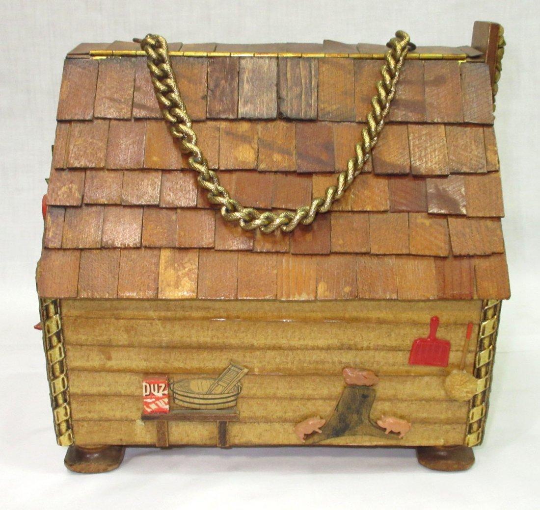 Folk Art Lou Smith Cabin, Box Purse - 3