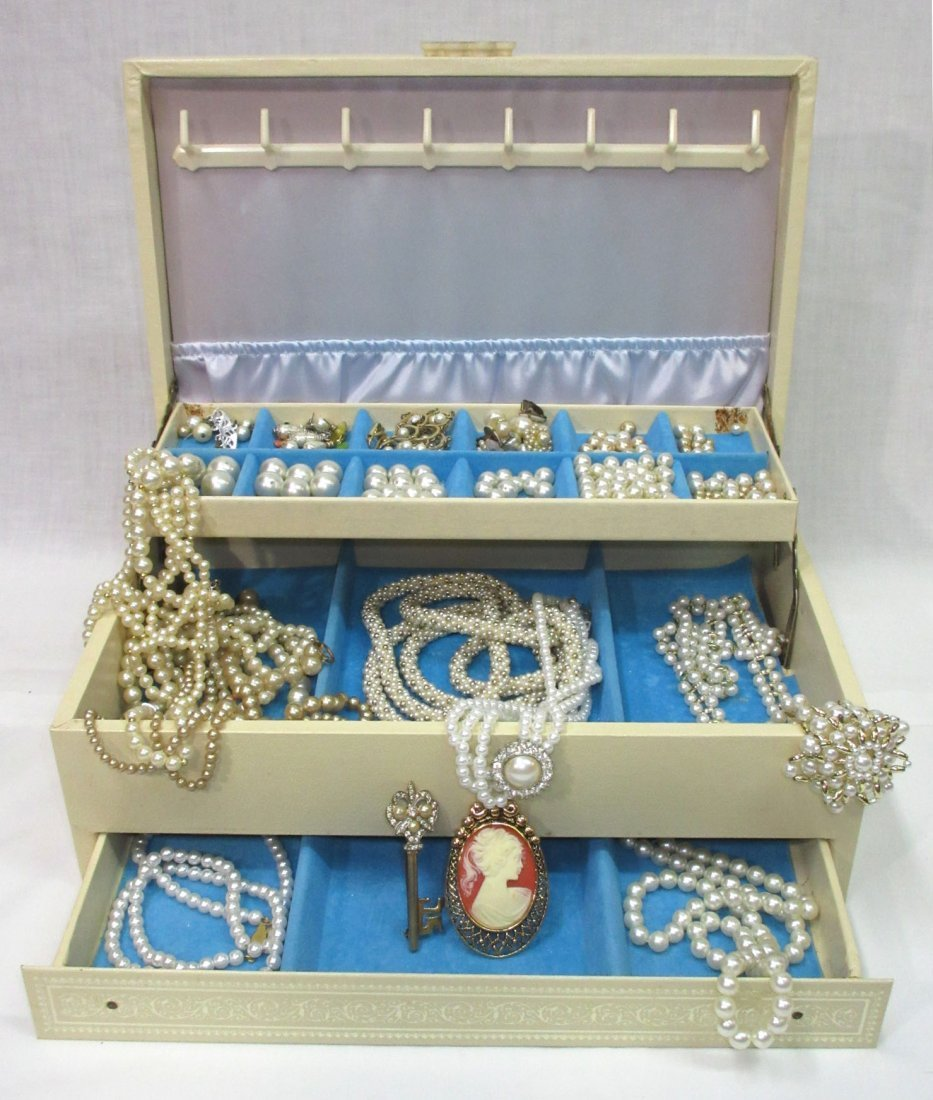 Vintage Jewelry Box of Faux Pearl Jewelry