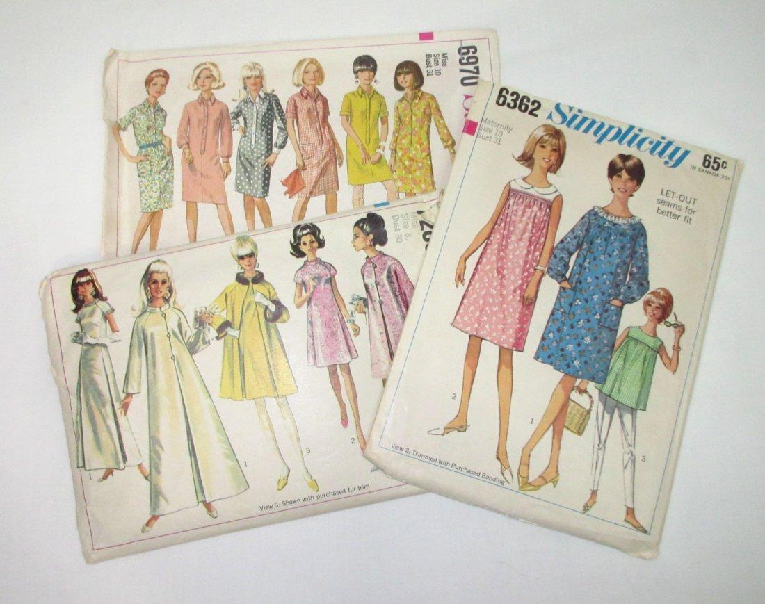 """3 Vtg 60's Dress & Coat Patterns, Bust 30/31"""""""