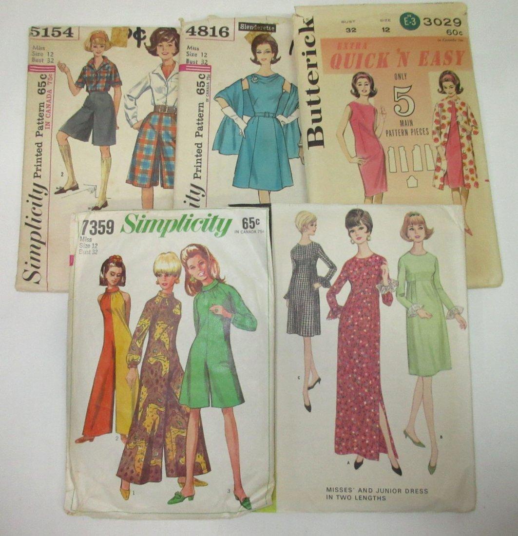 """5 Vtg Fun 60's Jumpsuit & Dress Patterns, Bust 32"""""""