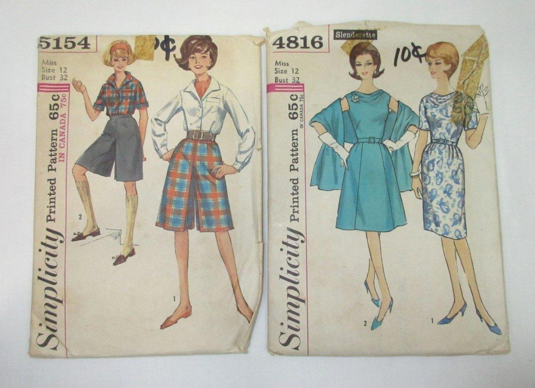 """5 Vtg Fun 60's Jumpsuit & Dress Patterns, Bust 32"""" - 2"""