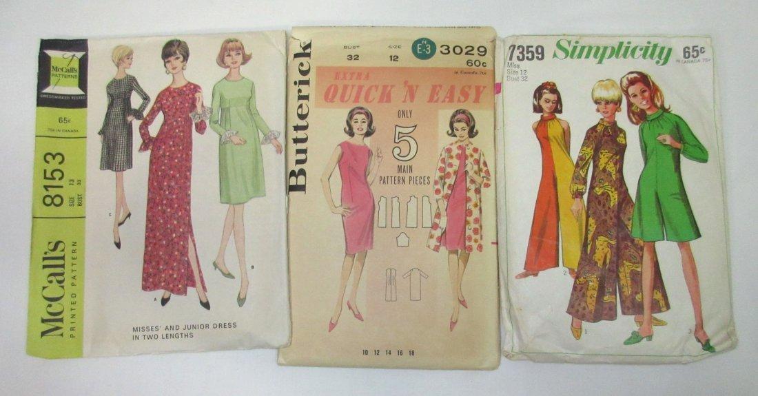 """5 Vtg Fun 60's Jumpsuit & Dress Patterns, Bust 32"""" - 4"""