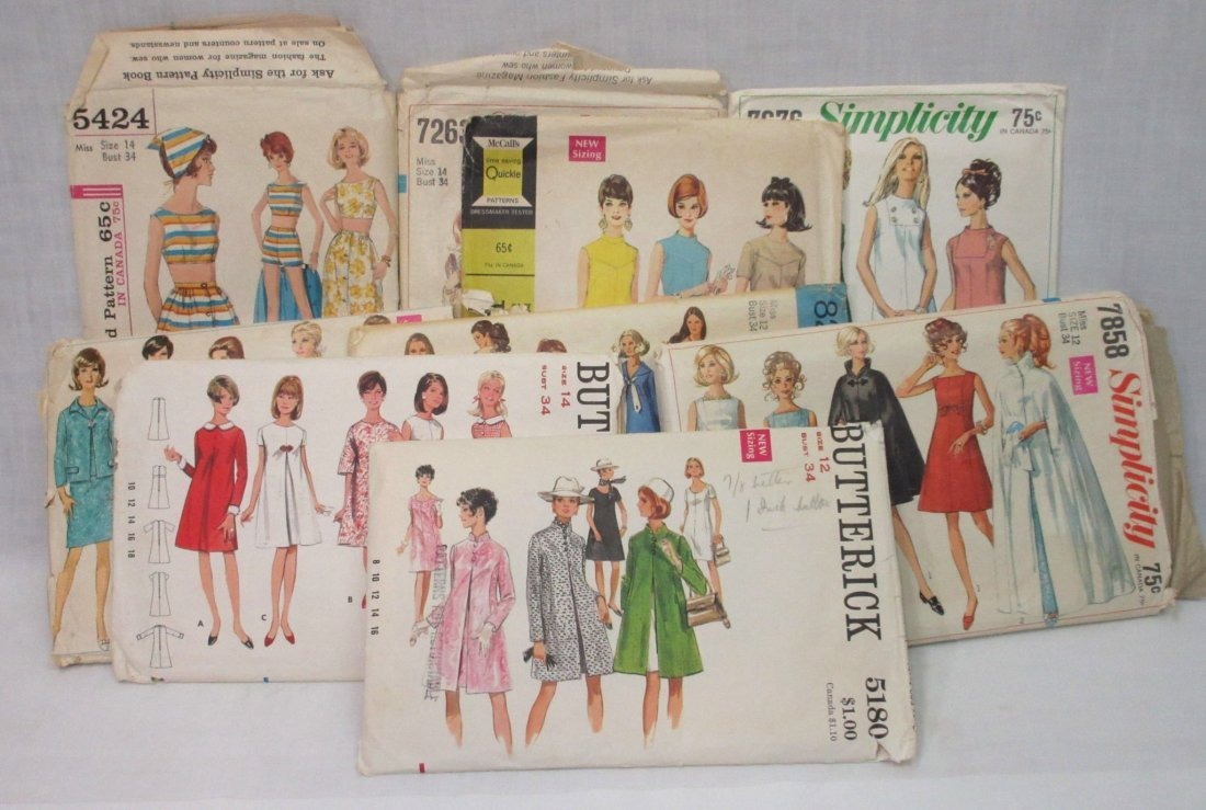 9 Vtg 60's Dress, Coat & Swim Patterns, Bust 34""